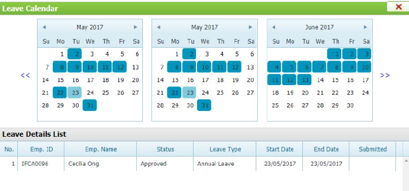 eLeave Calendar